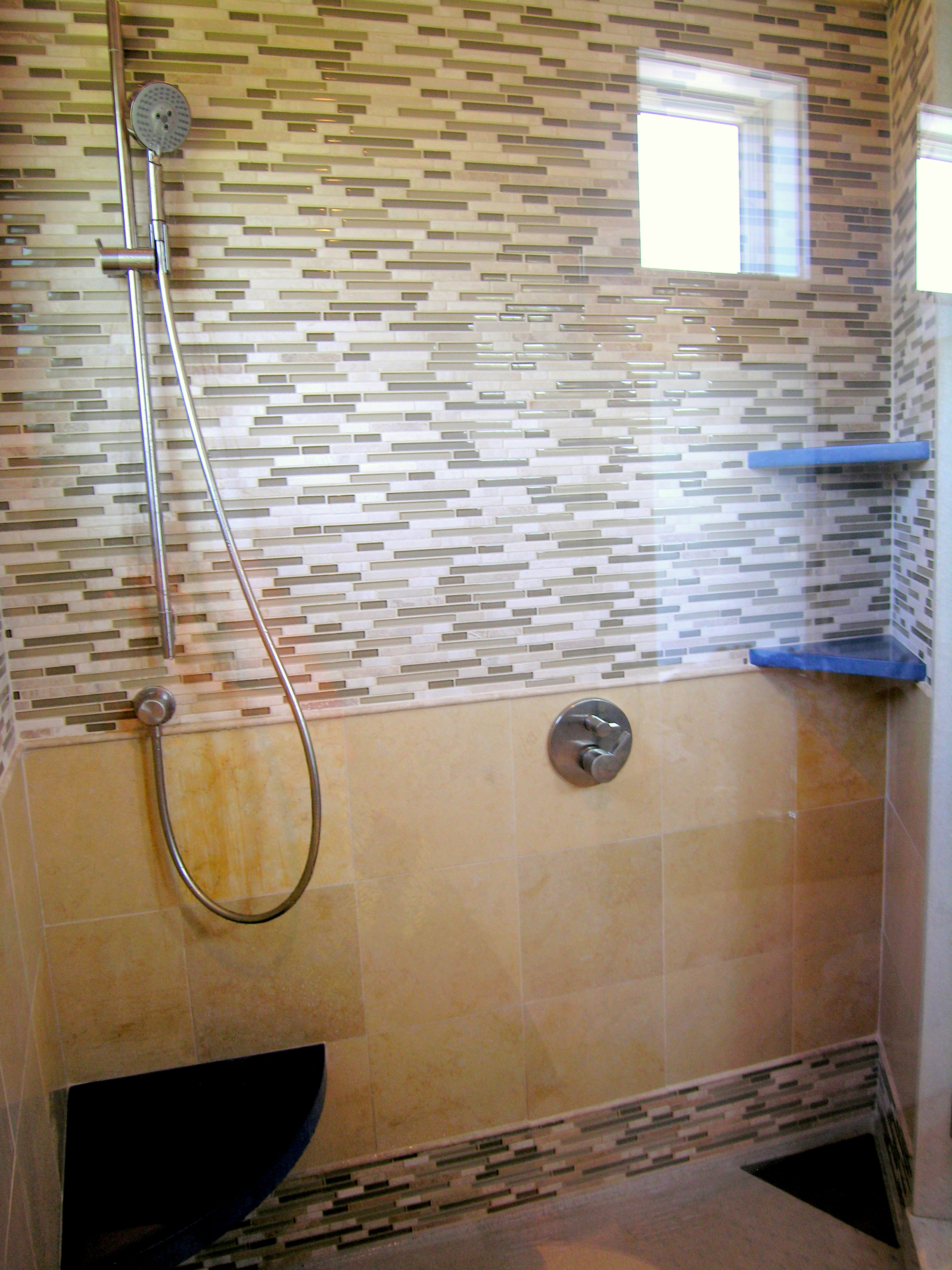 Glass, Limestone & Concrete Shower