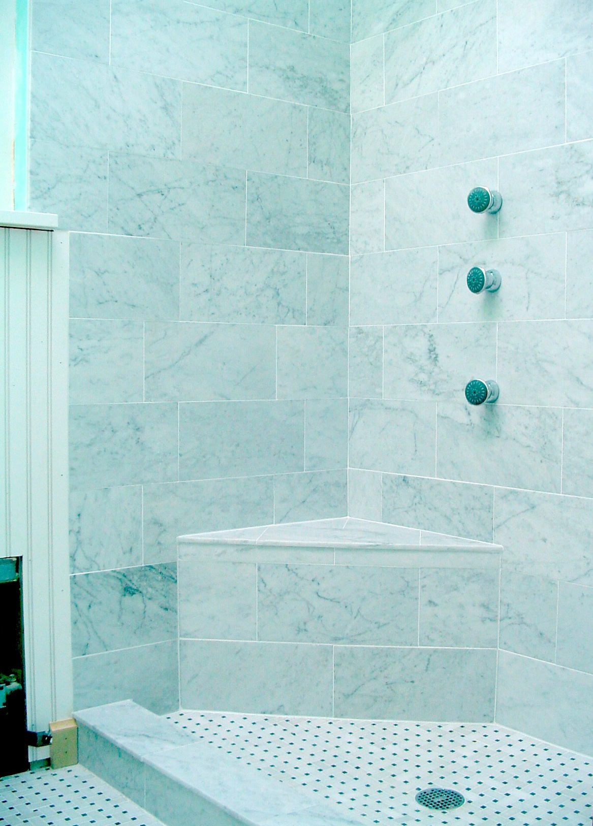 Italian Carrera Marble Shower