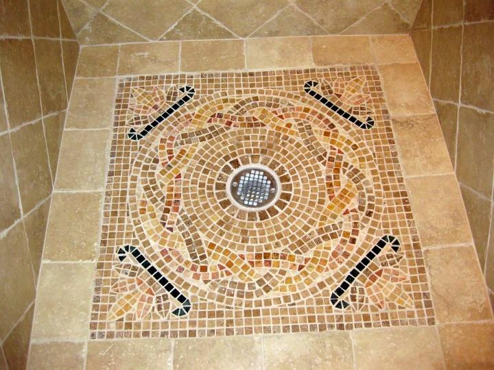 Marble Mosaic Medallion Shower Base
