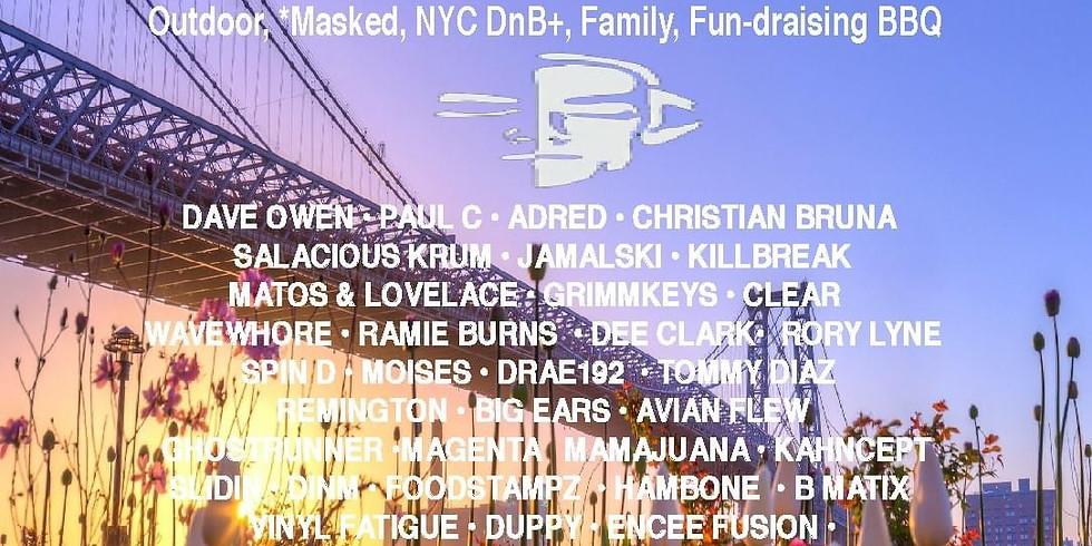 Jungle Dub House masked, distanced dnb + dance family fun-draiser BBQ