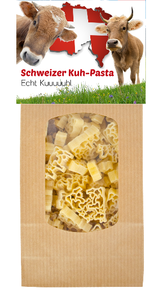 Schweiz, Ländergeschenk, Pasta, Teigwaren, Kuh, Tiere, Verpackung, Geschenk, Mitbringsel