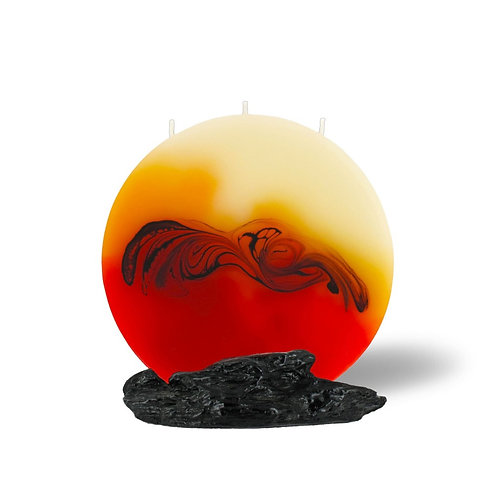Kerze, weiss, orange, schwarz, Kerzenhalter, Geschenk, Docht, 3 Dochte, Muster