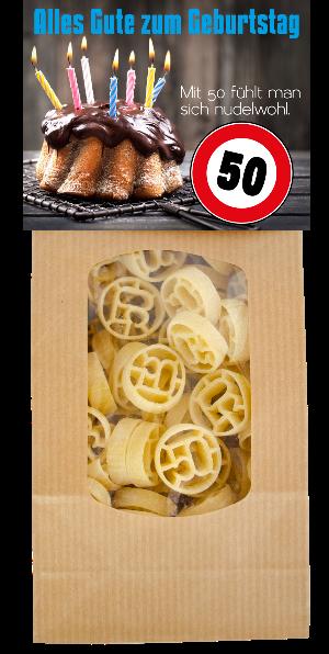 50. Geburtstag, Happy Birthday, Zahl, 50, Geschenk, Pasta, viel Glück, Nudeln, spezielles Geschenk, Kuchen, Verkehrsschild