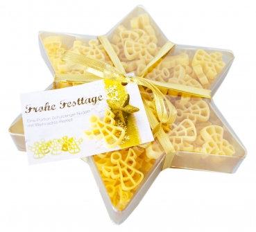 Weihnachtsstern, Pasta, Engelsnudeln, Weihnachtsgeschenk, Sterngeschenk, Past in Stern Verpackung