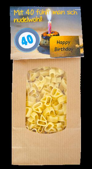 40. Geburtstag, Happy Birthday, Geburtstag, Nummer 40, Pasta, Nudeln, Teigwaren, Geschenk, Fest, Party, Verpackung, Zahl, 40