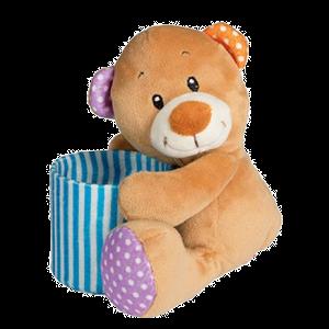 Baer, braun, Kindergeschenk, Geschenk, Kinder, Plüsch, Kuscheltier, blau, Mitbrinsel, Schulanfang