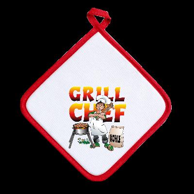 Grillchef, Topflappen, Grillzeit, Kohle, Grill, Fleisch, Würste, Geschenke fuer Maenner, weiss, rot, Grillkohle