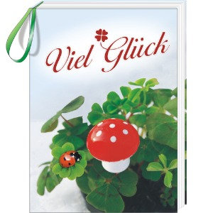 Fliegenpilz, viel Glück, Buch, Glück, Geburtstag, Glückskäfer, Marienkäfer, Mini-Buch, Prüfung,