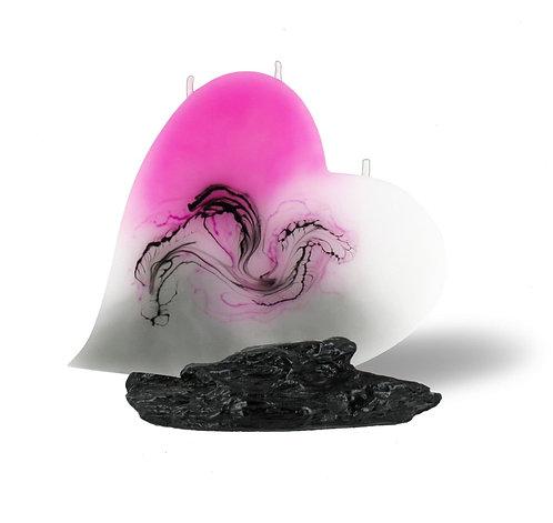 Herzkerze rosa, Kerzengeschenk online, Geschenk Kerze, Herz Kerze, Kerze in Herzform