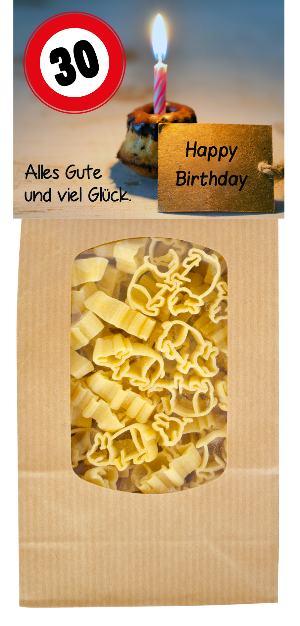 30, Geburtstag, Alles Gute, Geburtstag, Geschenk, Party, Lebensmittel, Pasta, Teigwaren, Nudeln, Fest, Glück