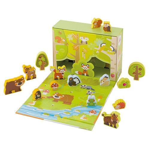 Spielkoffer Wald, Spielzeug ab 2 Jahren, SEVI PLAY SET, Kinder Spiele, Wald Spielzeug