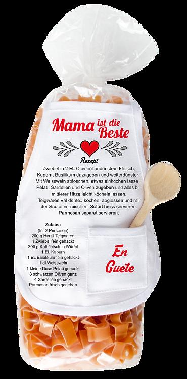 Rezept, Mama, Pasta, Schürze, Kochlöffel, Herz, originelle Verpackung, Muttertag, En Guete, Tomaten, Oliven, Sauce