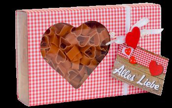 Teigwaren, Nudeln, Pasta, Herz, Schachtel, Herzform, Etikette, Herzschachtel, Box, Lebensmittel, Geschenk