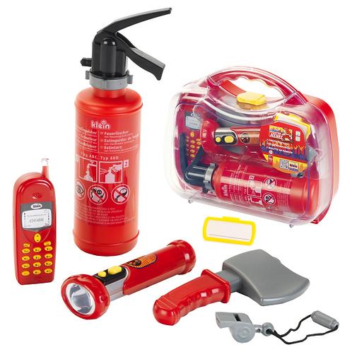 Feuerwehrkoffer von Klein, Spielzeugkoffer, Spielzeug Geschenk fuer Kinder und fuer Jungs, Rollenspiel Feuerwehr,