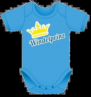 Babybody blau, Baby Body Geschenk, Body für Junge, Windelprinz und Krone, Body mit Spruch und Bild