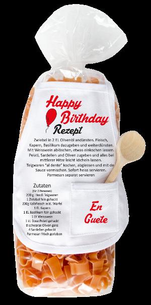 Geburtstag, Pasta, Geschenk, Happy Birthday, Ballon, Rezept, Schürze, Kochlöffel