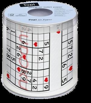 Sudoku, Raetsel, WC-Papier, Zahlen, Verpckung, 7, 5, 2, 1, 3, 4, 8, 9, Herz, Herzchen, Raster, Toilette