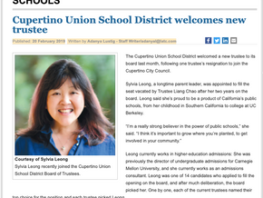 Cupertino Union School District welcomes new trustee