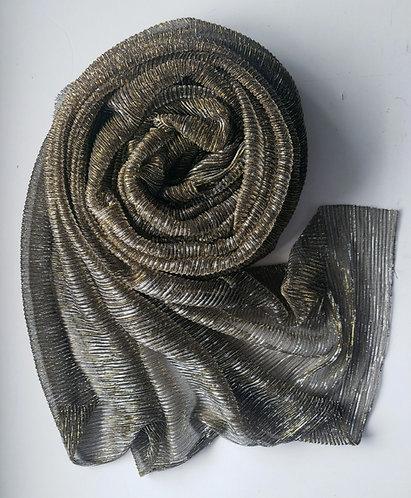 Gold Grey Shimmer Pleat hijab