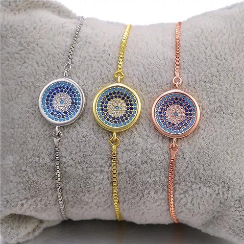 Circle pendant drawstring bracelet