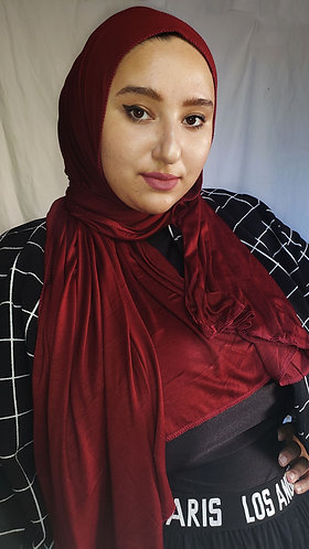 Maroon silky Jersey hijab