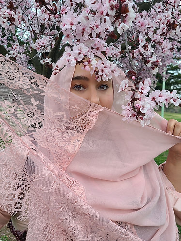 Blossom pink lace Viscose Hijab