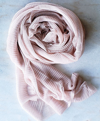 Nude pink Shimmer Pleated Hijab