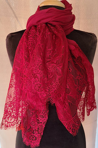 Cherry red Lace Viscose Hijab