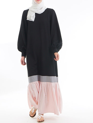 Black& pink Block ruffle Abaya/Dress