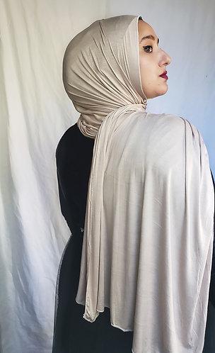 Beige silky Jersey hijab