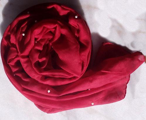 Red Pearl Viscose Hijab