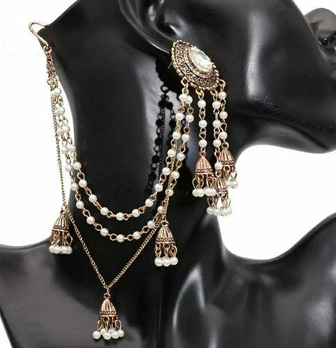 Pakistani earring and hair chain