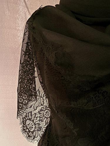 Black lace Viscose Hijab