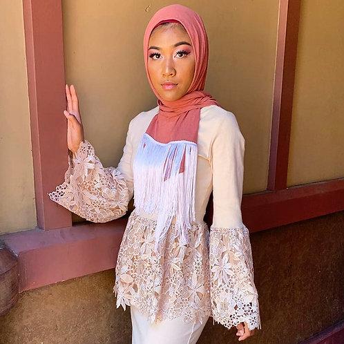 Mauve Fringe Jersey Hijab