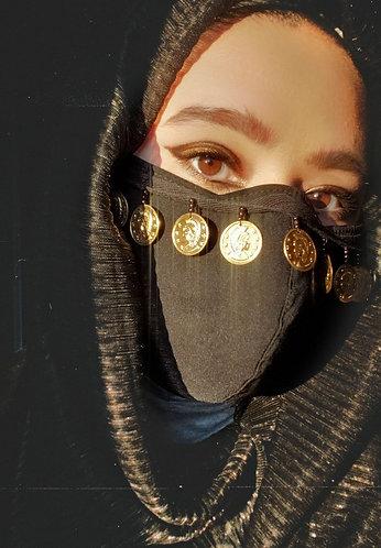 Black gold Coin Face Mask