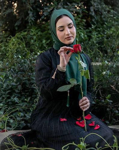 Forest green Tassle Georgette Hijab