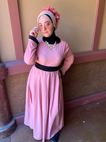 Black Bow Pink Dress