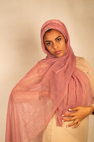 Fairy Pink Shimmer Pleated Hijab