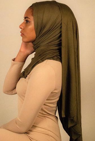 Olive silky Jersey hijab