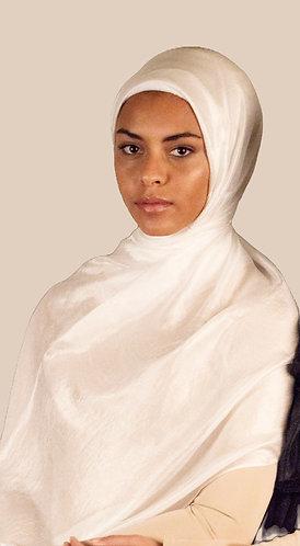 White textured Silk Hijab