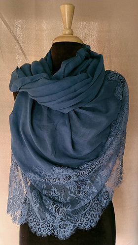 Teal Lace Viscose Hijab