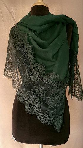 Hunter Green Lace Viscose Hijab