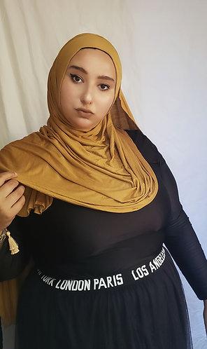 Golden  silky Jersey hijab