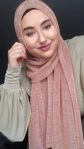 Pinky Peach Shimmer Pleated Hijab