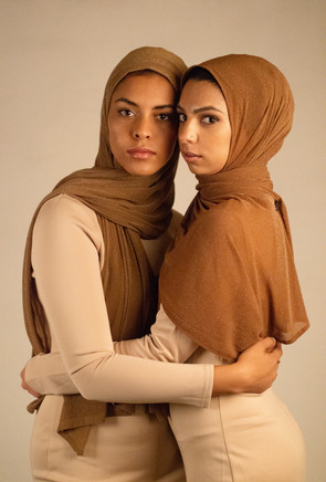 Mocha and carmel Chainmail Hijab