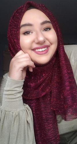 Burgandy Shimmer Pleated Hijab
