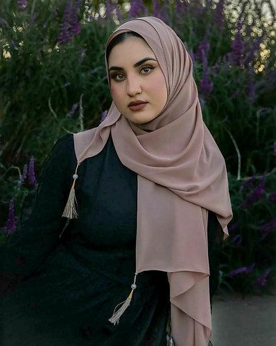 Mauve Tassle Georgette Hijab