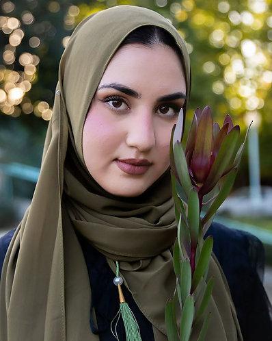 Olive tassle Georgette Hijab