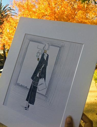 Hijab Fashion Sketches Original Art Work