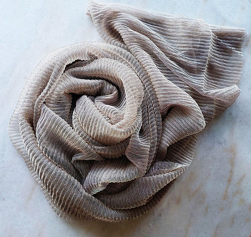 Taupe Shimmer Pleated Hijab